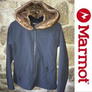 🎁MARMOT faux fur soft shell dark grey jacket coat